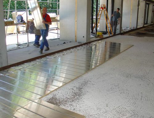 Ökologische Fußbodenheizung mit Gussasphalt für Mensa